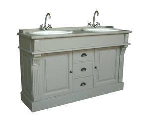 Meuble de salle de bain épicéa massif, Gris - L145
