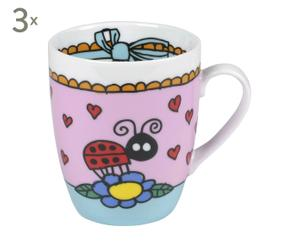 3 Mugs XL Rose, Porcelaine - 300 mL