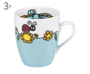 3 Petits mugs Daisy, Porcelaine - 150 mL