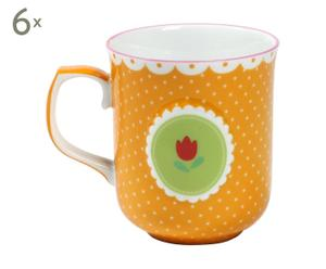 6 Petits mugs Porcelaine, Orange - 120 mL