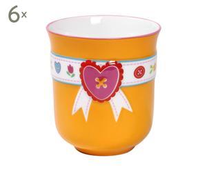 6 Mugs Porcelaine, Orange - 200 mL