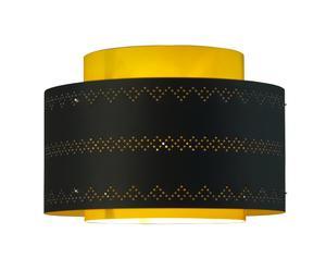 Abat-jour Kono papier, noir et jaune – Ø34