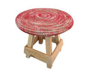 Tabouret KARA Bois et paille de laine, rouge - Ø35