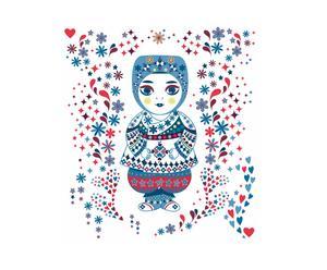 Tête de lit Poupée russe, Bleu – L100