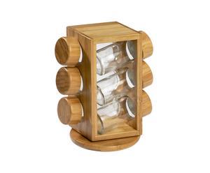 Carrousel  à épices Bambou et verre recyclé, Naturel - H21