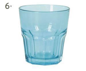 6 Gobelets Verre, Bleu -  Ø9