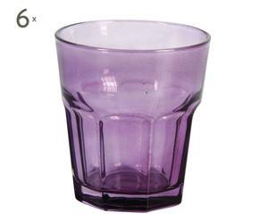 6 Gobelets Verre, Violet -  Ø9