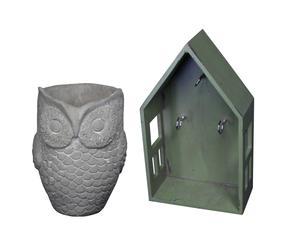 1 vide-poche et 1 range-clés, céramique et bois