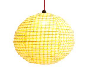 Abat-jour coton, jaune et blanc - Ø50