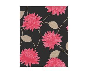 3 Rouleaux de papier peint Vinyle grainé, Noir et rose - 10 m