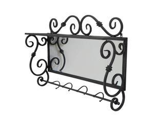 Miroir d'entrée Fer, Noir - L87