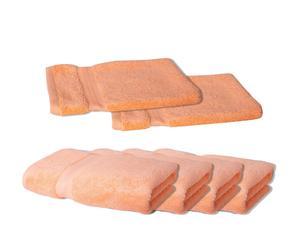 2 Gants et 4 Essuie-mains TAI, Coton - Pêche
