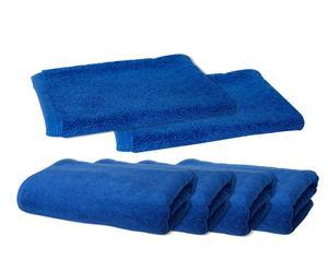 2 Gants et 4 Essuie-mains LORI, Coton - Bleu