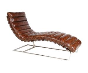 Chaise longue Oviedo cuir, brun – L140