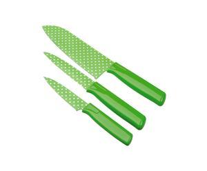 3 couteaux VERA inox, Vert