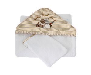1 cape de bain et 1 gant, coton - Blanc et beige