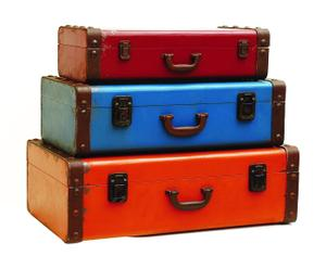 3 Valises, orange bleu et rouge – fer
