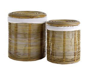 2 Paniers à linge, osier et coton