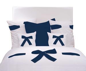 Housse de couette percale de coton, Blanc et bleu marine - 240*220