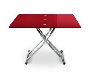 Table ajustable laquée MIAMI, rouge – L100
