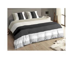 1 Housse de couette et 2 taies d'oreillers Coton, Beige, Gris et Noir – 220*240