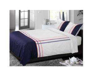 1 Housse de couette et 1 taie d'oreillers, Blanc, Bleu et Rouge – 140*200