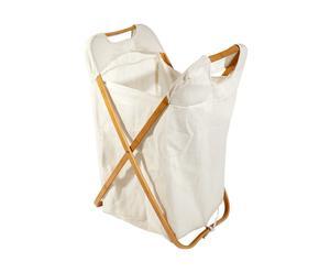 Panier à linge Bambou et coton, Blanc - L48