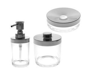 3 Accessoires de salle de bain Verre - Transparent et argenté