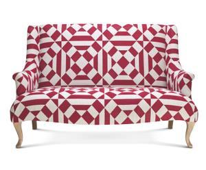 Canapé lin et coton, rouge et blanc - 2 Places