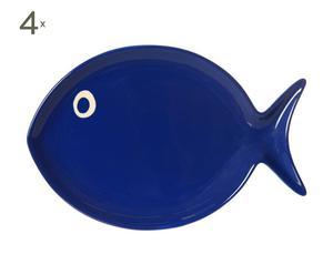 Repose-cuillères Porcelaine, Bleu - L15