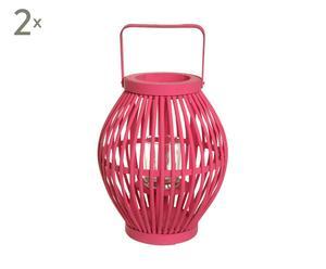 2 Lanternes bambou, Framboise - H40