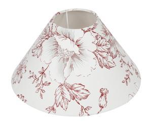 Abat-jour rond fleuri Toile et plastique, Blanc et rouge - Ø30