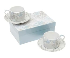 2 Tasses à thé BLUE DREAM, porcelaine – H9