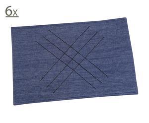 6 Napperons coton, Bleu - L45