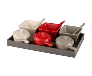 Plateau mini caquelons Céramique, Gris, blanc et rouge - L28