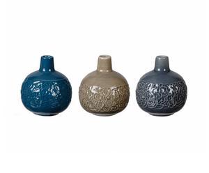 3 Soliflores Céramique, Taupe et gris - Ø10