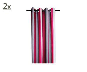 Paire de rideaux Lin, Rose et gris - 135*250