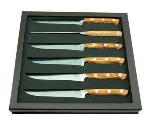 6 Couteaux à steak JOEY Bois d'oliver et acier, Naturel - L22
