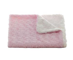 Couvre-lit bébé Rosebud, rose et blanc – 75*75