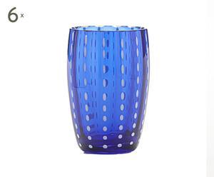 6 Verres à liqueur Cristal, Bleu marine - Ø5