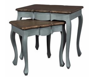 2 Tables gigognes Acajou, Gris et marron
