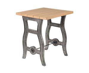 Table bistrot Acajou et Chêne, Gris et naturel - L60