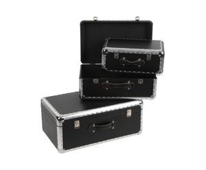 3 Coffres, Noir et argenté - L60