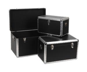 3 Malles empilables, Noir et argenté - L70