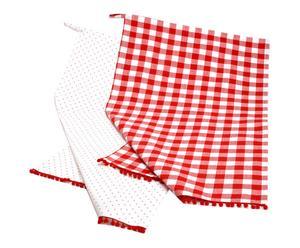 2 Torchons Coton, Rouge et Blanc - L70
