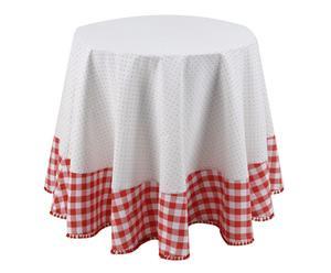 Nappe ronde Coton, Rouge et Blanc - 180*180