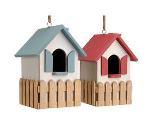 2 Maisons à oiseaux, Bleu  et Rouge - H16