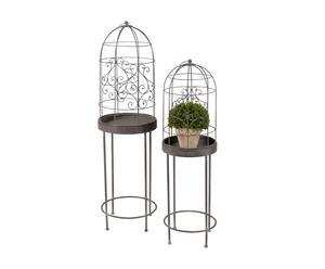 2 Cages sur pieds  Métal, Marron  - H106