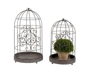 2 Cages  Métal, Marron  - H63
