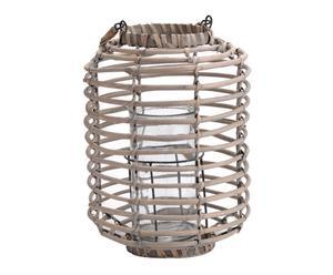 Lanterne Rotin et verre, Beige - H41